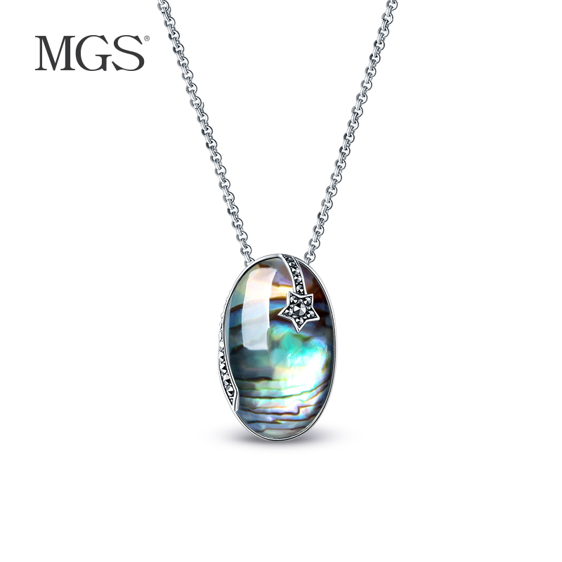Mgs mangu silver/silver retro bangkok abalone shell necklace s925 silver inlaid natural white crystal pendant female