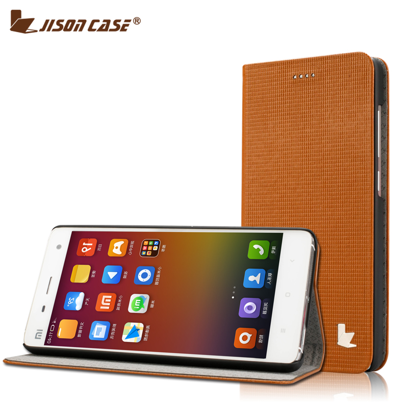 MI4W xiaomi4 millet 4 mobile phone shell protective sleeve shell real leather smart wake mi 4 business men