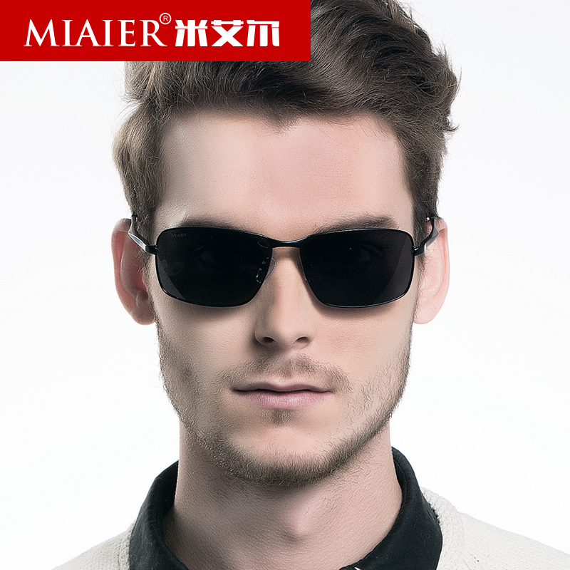 Miai er male polarized sunglasses retro sunglasses glasses men's fashion business division machine driving mirror black eyes