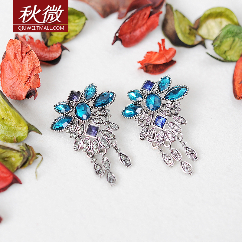 Micro autumn retro gem brooch female accessories collar flower brooch crystal brooch korea collar pin jewelry