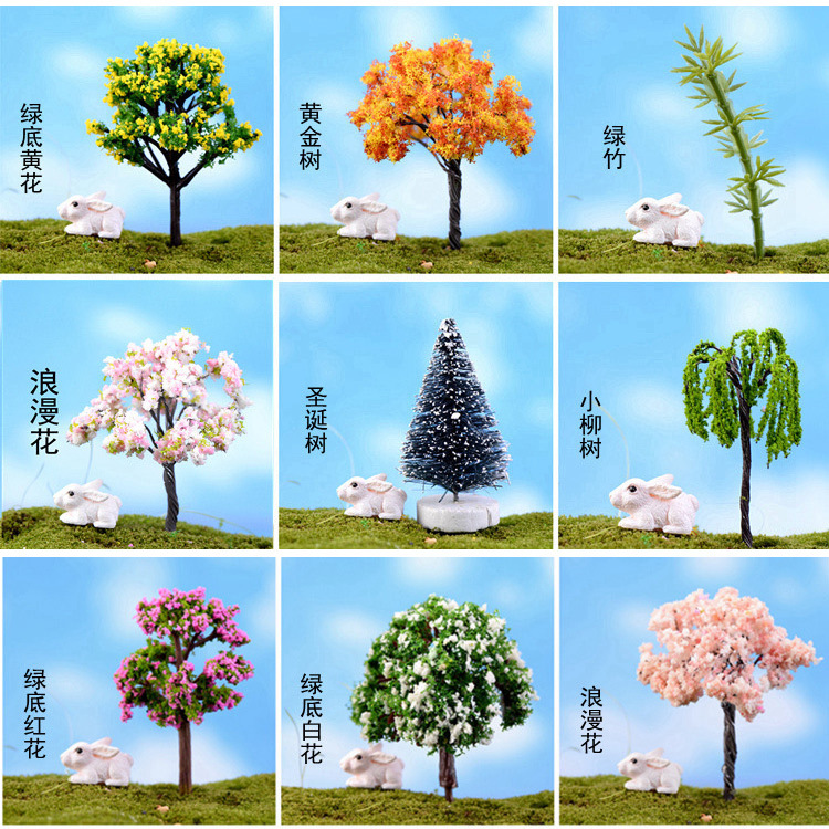 Micro landscape ornaments new tree simulation artificial flowers cherry plum tree coconut tree christmas tree bamboo sub creative ornaments