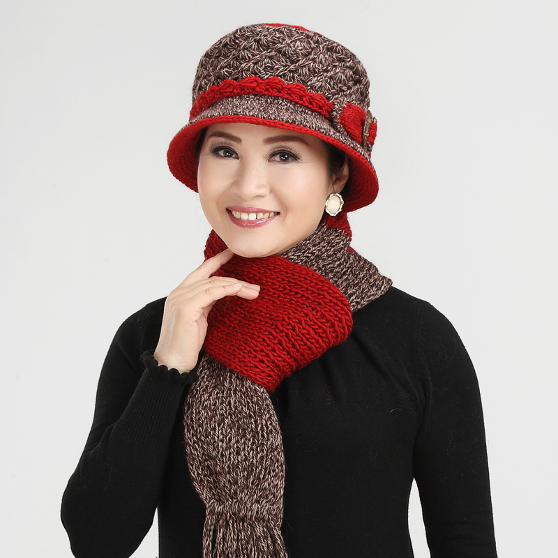 5e640fb9ec1 Buy Middle-aged lady hat knitted hat winter wool hat handmade wool hat old  man winter thick warm hat scarf in Cheap Price on Alibaba.com