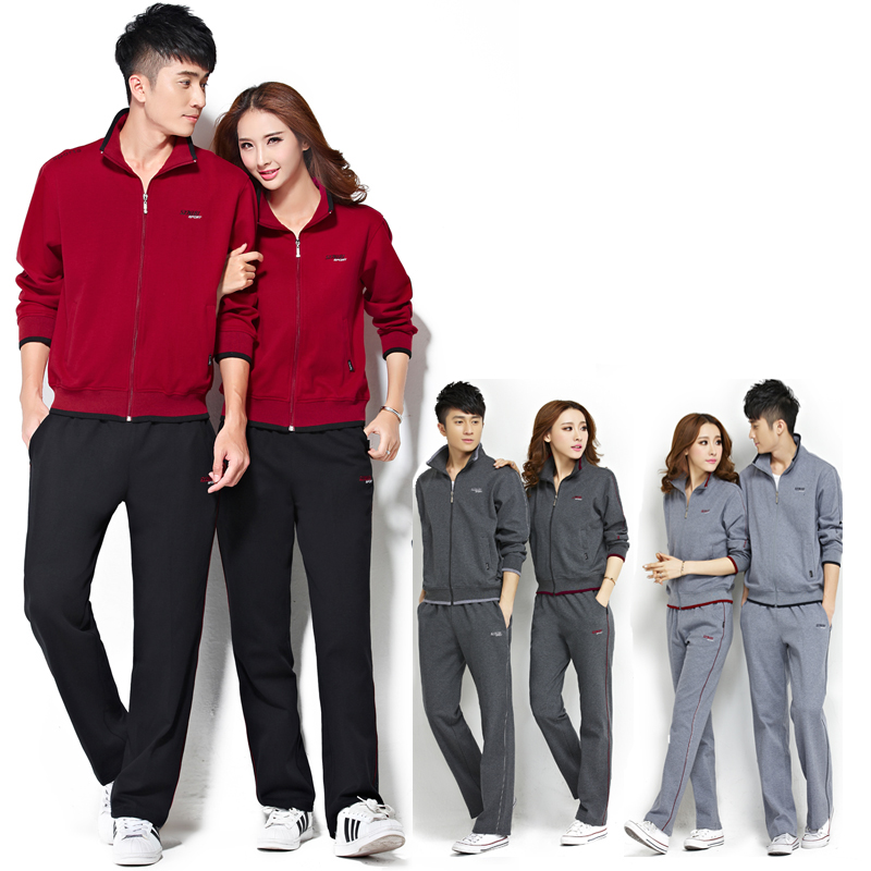 Middle-aged male sports suit spring and autumn fertilizer to increase the middle-aged couple track suit sports suit women mother dress