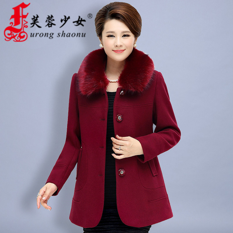 Middle-aged middle-aged ladies woolen winter coat large size mother dress autumn middle-aged ladies woolen coat 40-50-year-old