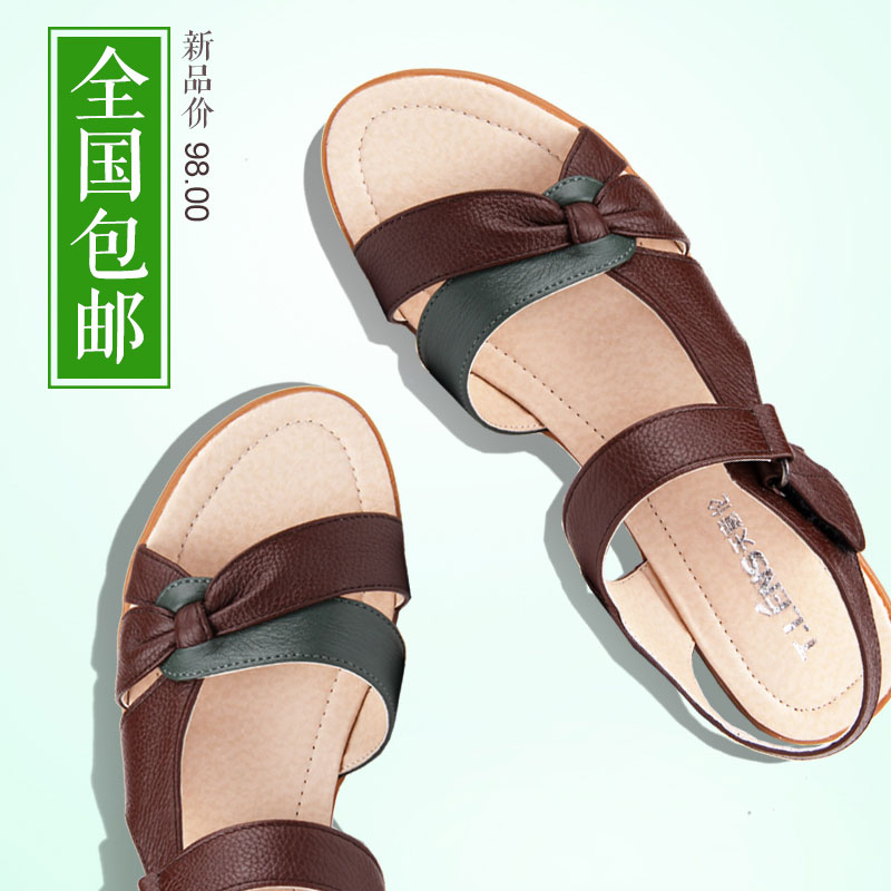 Middle-aged mother shoes sandals leather sandals mother shoes with flat sandals summer sandals slip soft bottom shoes for the elderly
