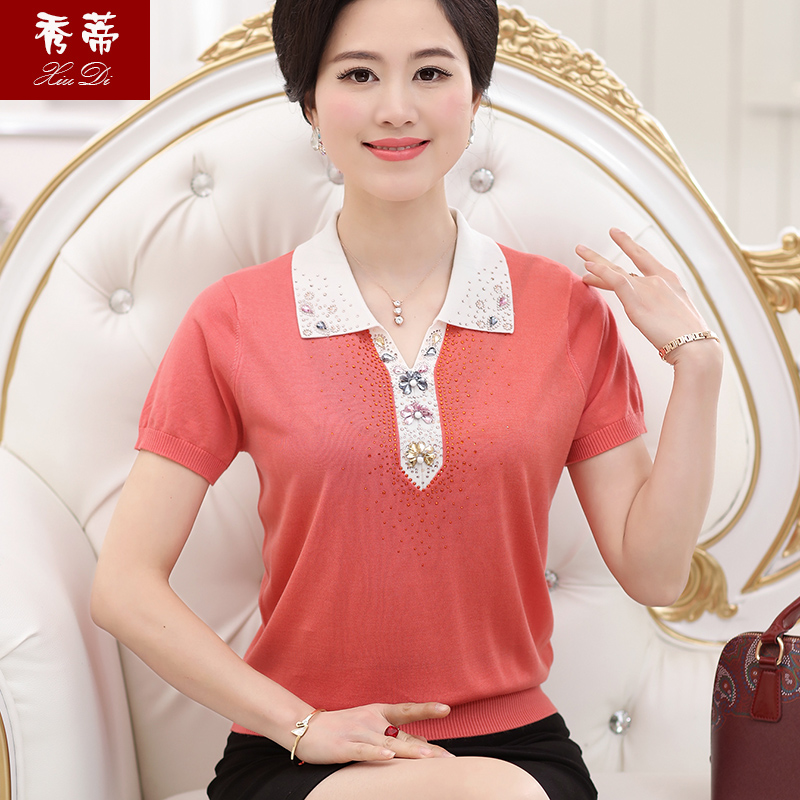 Middle-aged women dress mother dress summer short sleeve t-shirt lapel middle-aged women hedging sweater t-shirt t-shirt