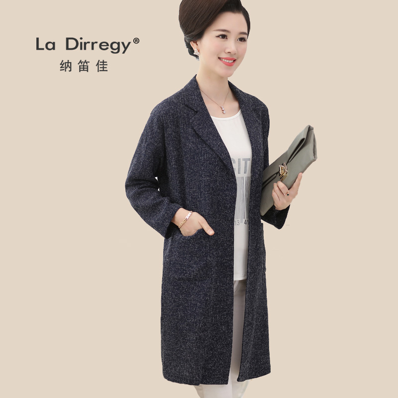 Middle-aged women's autumn jacket and long sections 40-50-year-old middle-aged woman mother dress spring and autumn big yards windbreaker