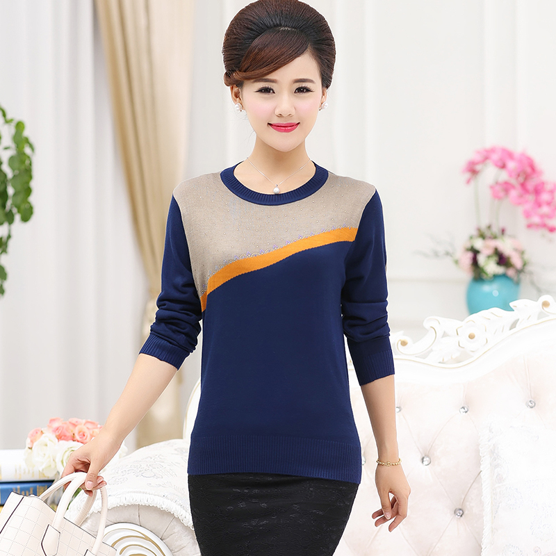 Middle-aged women's autumn yarn sweater sleeve mother dress autumn long sleeve middle-aged women aged 40 years old 50 T-shirts