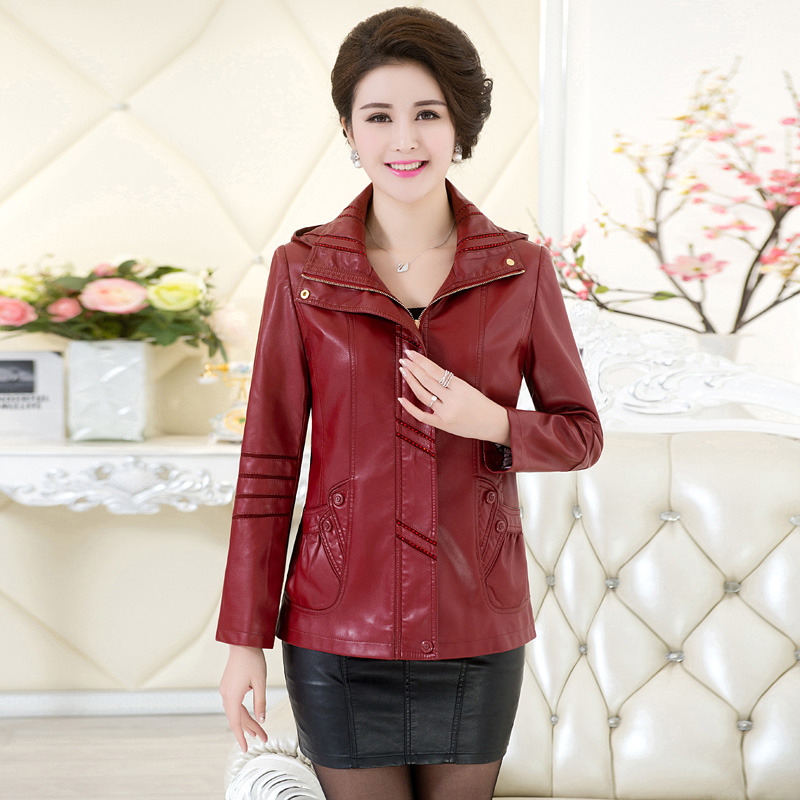 Middle-aged women's spring big yards middle-aged mother dress women's casual leather jacket slim leather leather jacket