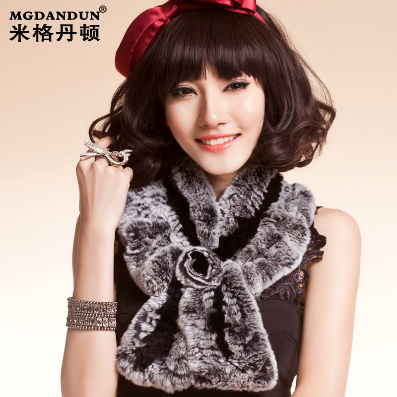 Mige dan benton 2015 new female winter fur collar rex rabbit fur scarf warm rabbit fur scarf
