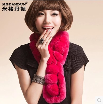 Mige dan benton new warm fur collar rex rabbit fur ball scarf scarf collars neck round neck multicolor rabbit fur ball scarf
