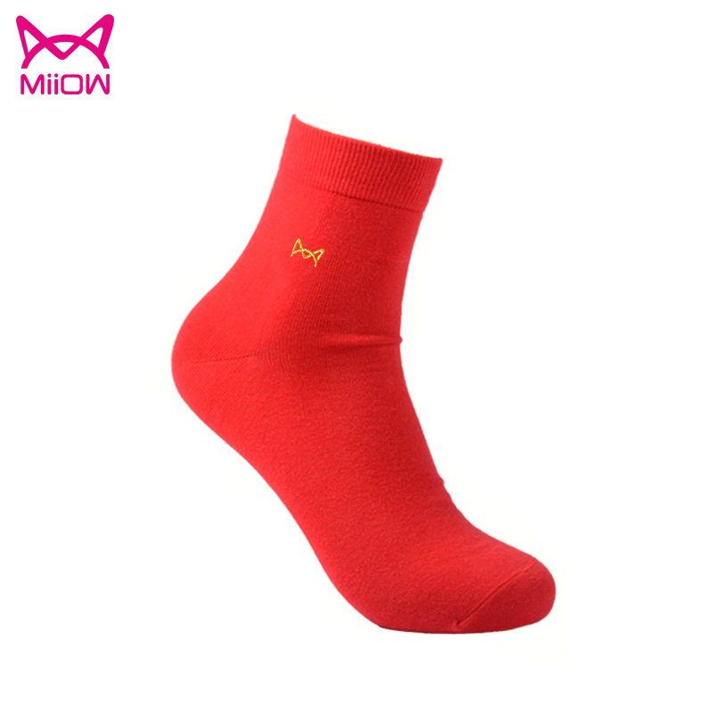 Miiow/cat person ms. natal red socks for men deodorant socks socks new wedding supplies wedding couple socks