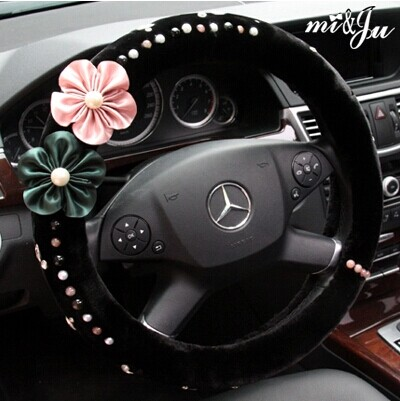 Miju steering wheel cover car interior crystal rose gentle comfort pure australian wool fashion 49