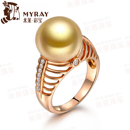 Mile 2mm australian south sea pearl ring golden sea pearl multicolored