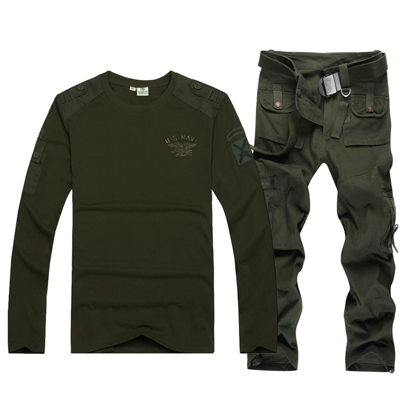 Military wild line of outdoor leisure clothing military fans camouflage suit male spring and autumn loose long sleeve t-shirt with belt