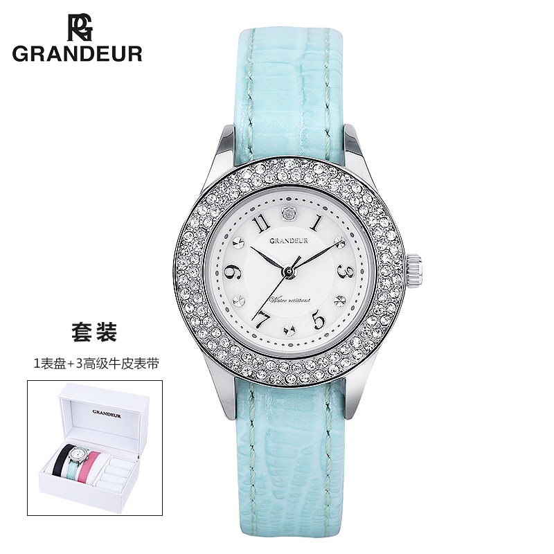 Milo qi grandeur japan imported fashion trend lady quartz watch waterproof leather strap watch tricolor