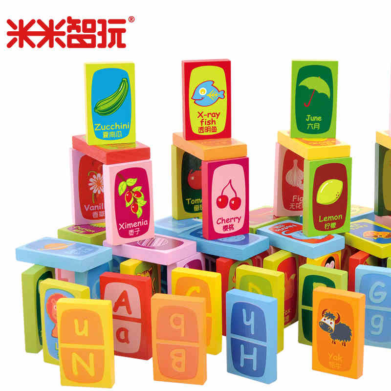 Mimi chi play early childhood educational toys domino domino blocks wooden baby learning english