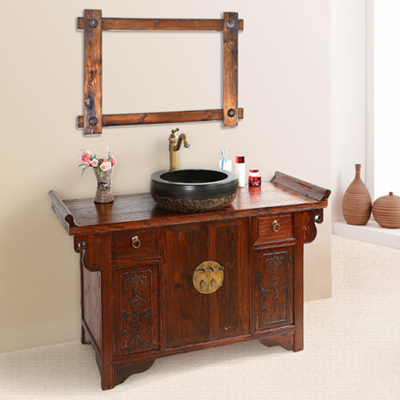 Ming and qing classical chinese elm wood carved antique bathroom cabinet bathroom cabinet portfolio grooming vanity cabinet floor