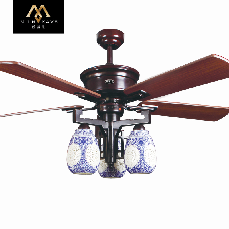 Mingjiahui ceiling fan light retro ornaments china wind 52 52-inch kiba fan lights ceiling fan remote control ceiling fan light chandelier restaurant