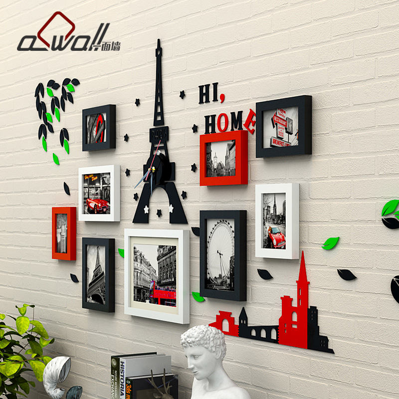 Minimalist modern european solid wood photo wall creative combination of small wall photo frame wall vertical body wall stickers wall photo wall