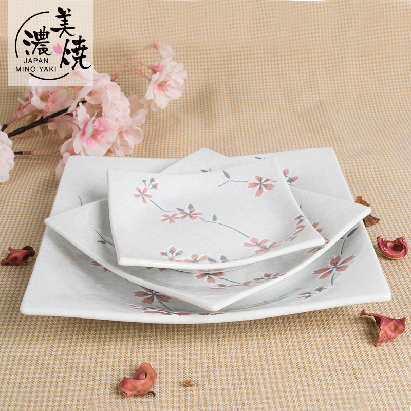 Mino burn imported carat 9 inch square plate japanese sushi dish dessert dish western dish plate flat plate dish cherry