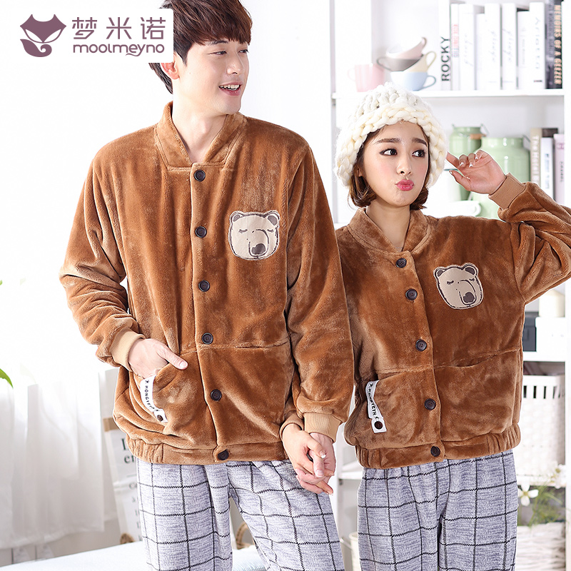 Minoxidil dream autumn and winter lovers thick coral velvet pajamas korean version of the cartoon warm law flannel suit tracksuit woman