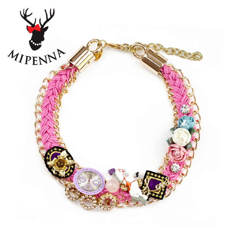 Mipenna/mi bona korean fashion wave of people ballet pink knit short sweater necklace jewelry female horse