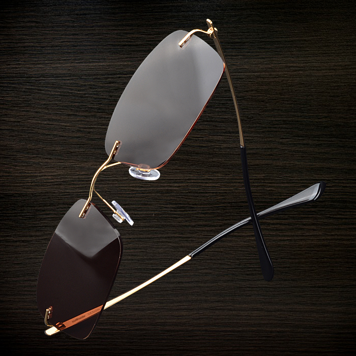 Mirror small square face with myopia eyes chromotropic division rimless sunglasses men sunglasses driver drove driving polarizer