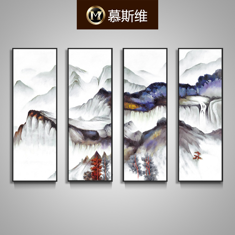 Misiti dimentional divine quadruple chinese painting paintings sofa backdrop painting decorative painting landscape painting the living room painted the whole