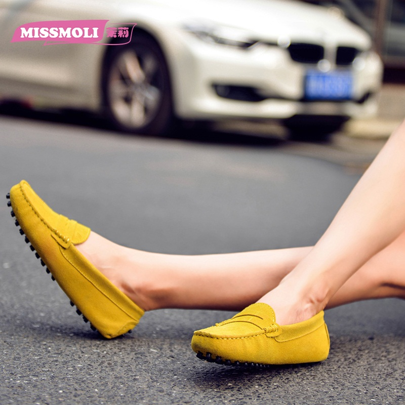 Missmoli2015 spring and summer female models peas shoes women leather belt korean version of the shallow mouth flat shoes lazy shoes