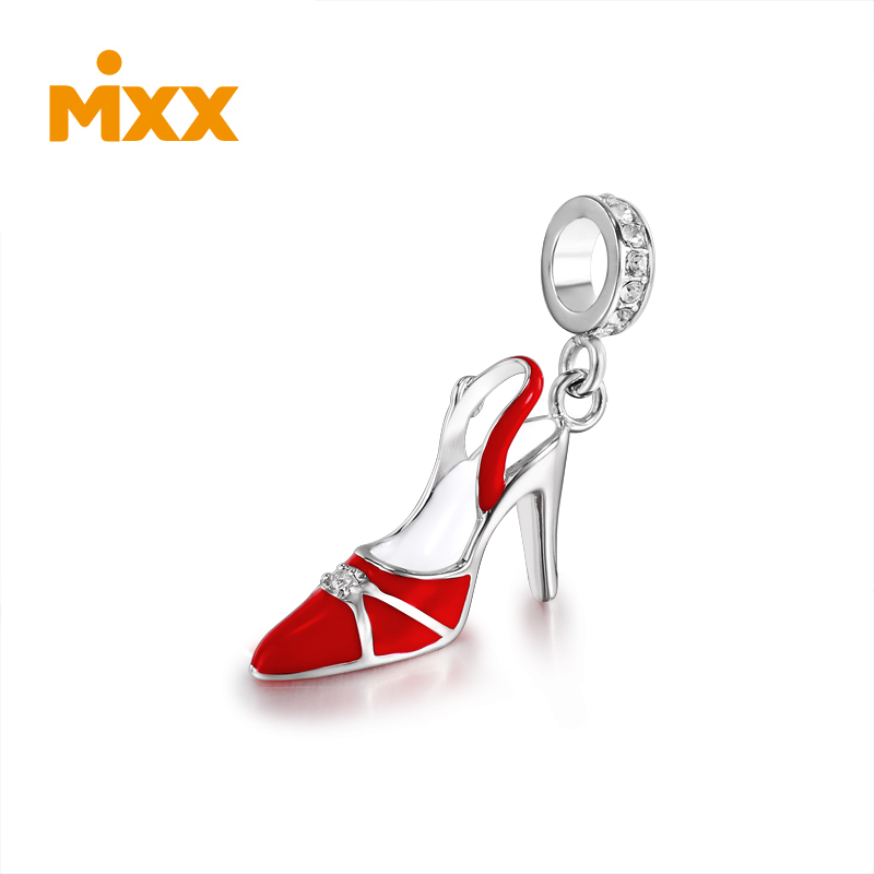 Mixx fashion elegant sexy elegant and charming red high heels 925 silver pendant P6295D