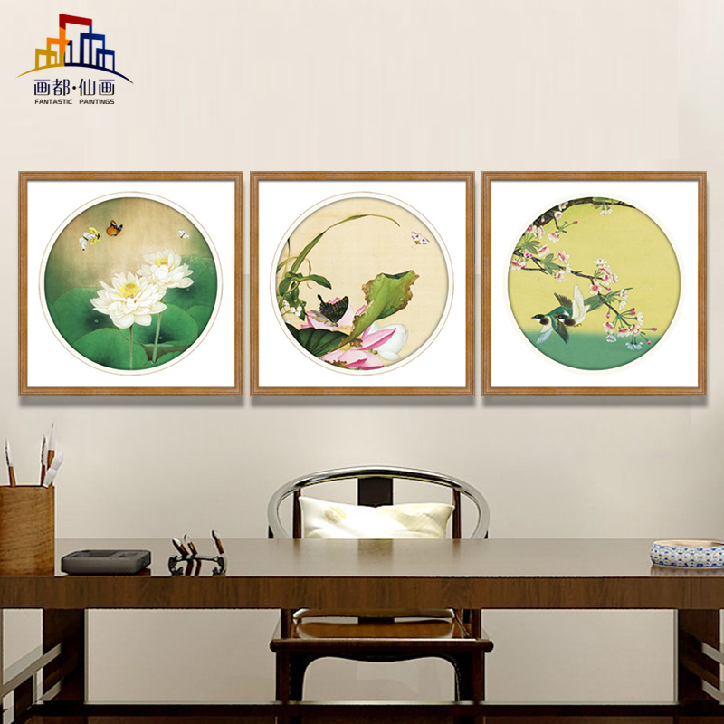Modern chinese decorative painting the living room triptych paintings meticulous painting freehand ink painting wood frame paintings