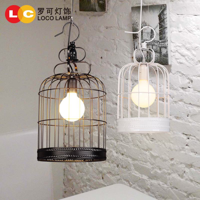 Modern chinese iron birdcage lamp chandelier creative personality retro clothing store office bedroom meal hotel lighting 76