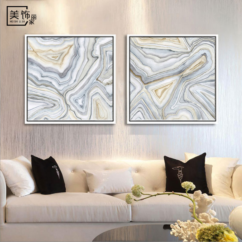 Modern minimalist abstract art painting decorative painting the living room sofa background wall paintings entrance linking two paintings framed painting
