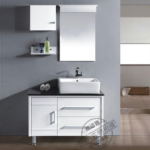 Modern minimalist bathroom cabinet bathroom cabinet floor wash basin wash basin counter basin combination of solid wood bathroom cabinet basin as a whole 9017
