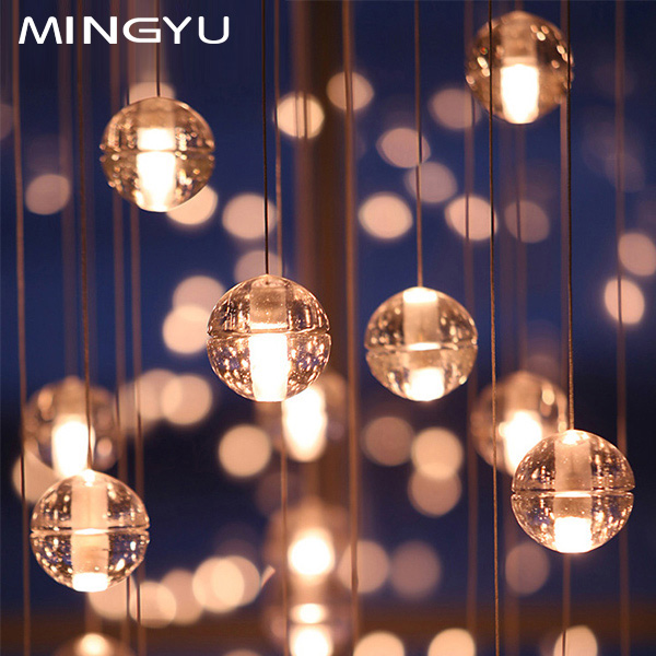 Modern minimalist glass ball chandelier crystal chandelier penthouse floor chandelier restaurant creative arts chandelier meteor shower