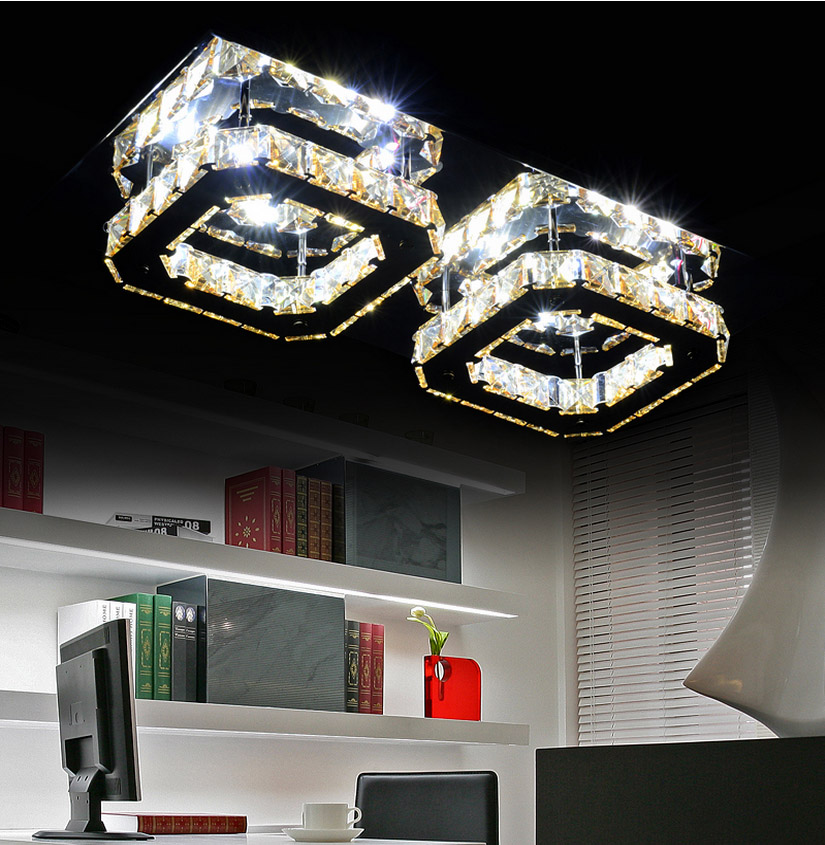 Modern minimalist rectangular led crystal ceiling living room lights restaurant study bedroom lamp aisle lights creative water