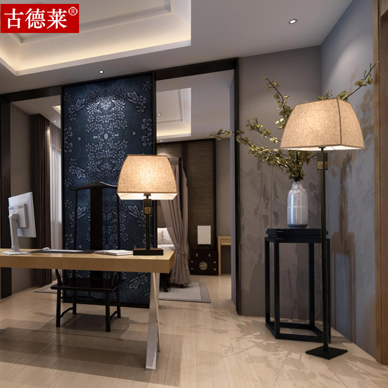 Modern new chinese iron led eye study lamp bedside lamp fashion fabric floor lamp floor lamp floor lamp bedroom lamp warm light