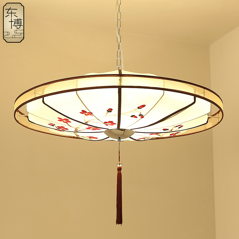 Modern new chinese restaurant chandelier antique fabric of chinese dual suction hanging lamps cozy bedroom lighting round