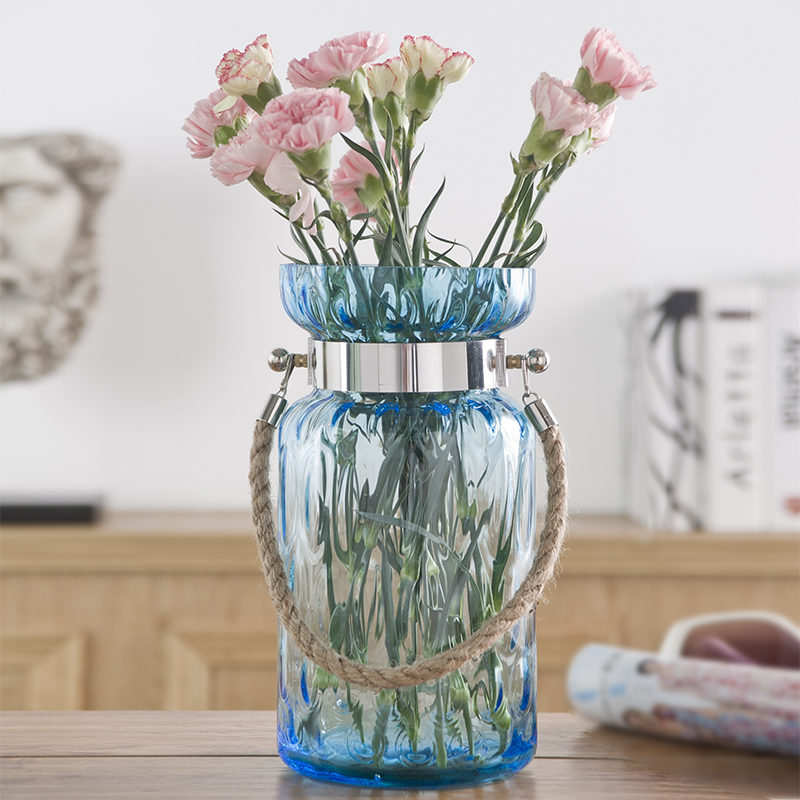 Modern simple european creative transparent blue hemptwist hanging pots hanging transparent glass vase flower hydroponic