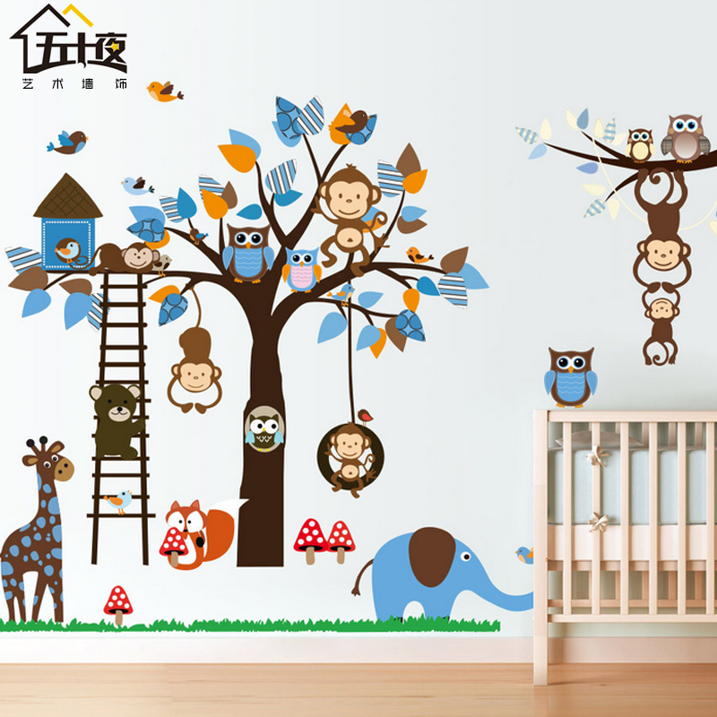 Monkey giraffe cartoon animal park children's room wall stickers bedroom tree baby and young children park painting stickers can be removed