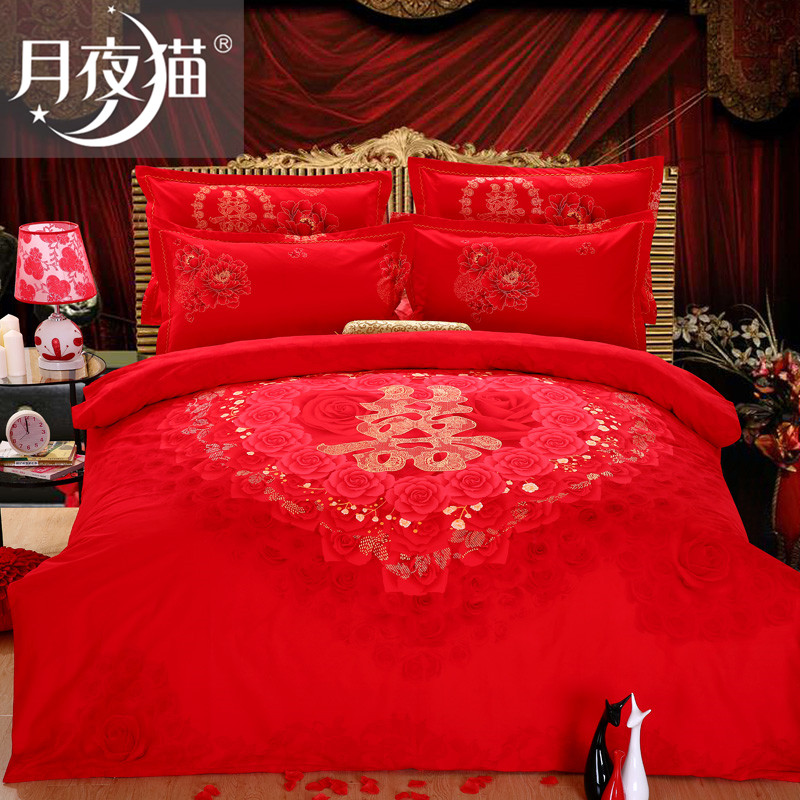 Moonlight cat brand cotton denim wedding red dragon and phoenix double quilt thick brushed denim wedding bedding
