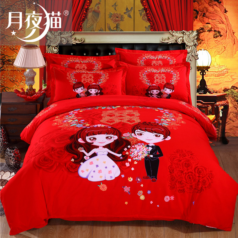 Moonlight cat cotton denim wedding red wedding couple double thick brushed cotton denim wedding bedding