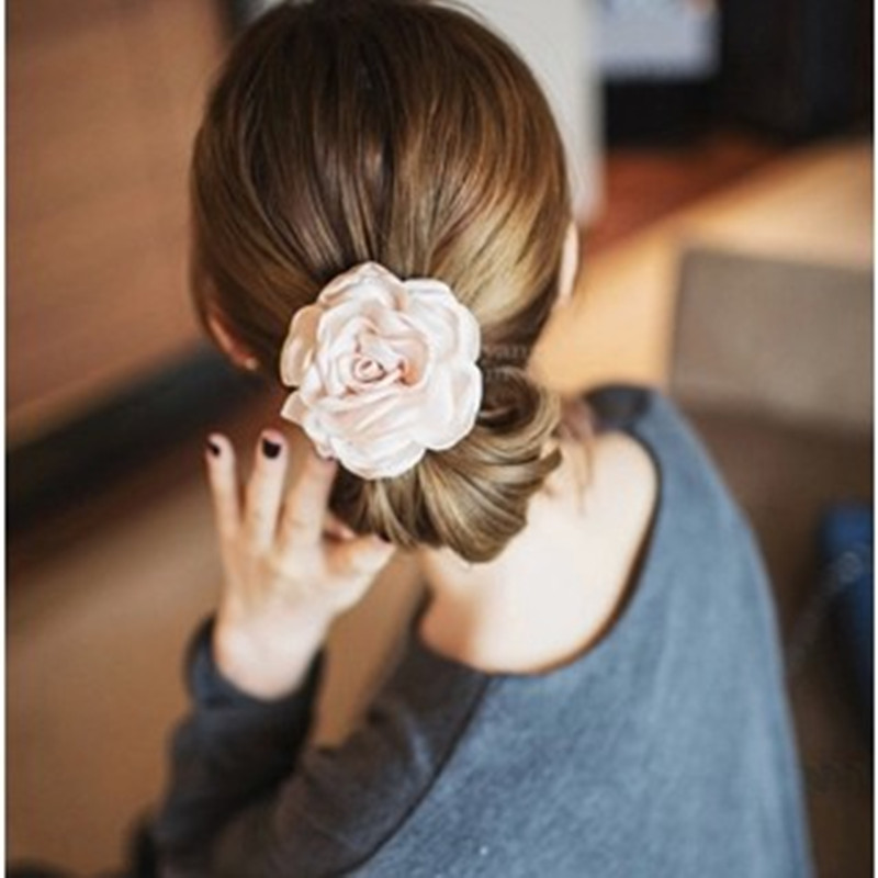 Moore jieka korean version of the elegant fashion rose flower hair ring hair rope rubber band tousheng headdress hair accessories jewelry