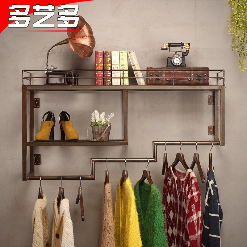 More and more art wrought iron clothing display rack clothing store clothing rack hanger personalized retro women's clothing store on the wall to hang