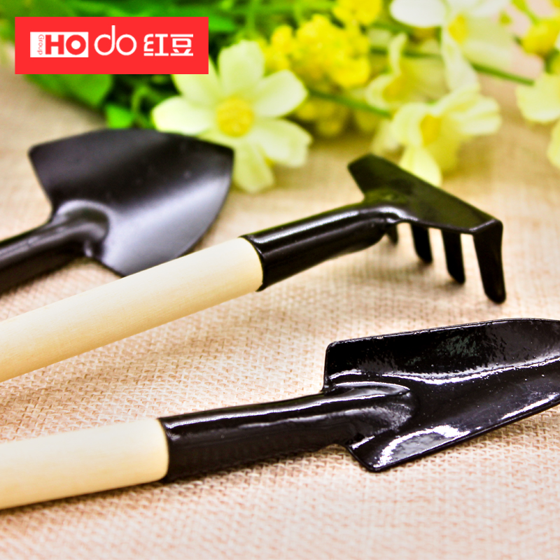 More meat and more meat plants flower gardening tool kit three sets of family potted plants tools gardening shovel rake spade shovel ripper tool
