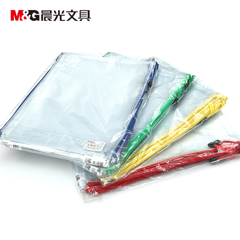 Morning monopoly a4/b5/a5 size paper bags mesh zipper bag kits student transparent bag adm94506