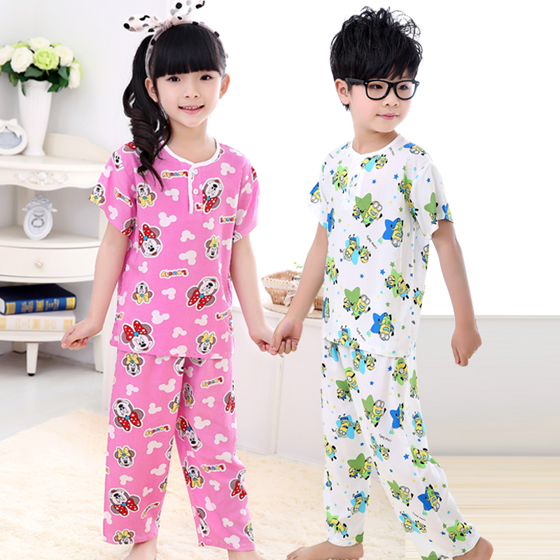 Mosquito thin breathable free shipping big boy child short sleeve cotton silk pajamas pants for boys and girls summer air conditioning pyjamas