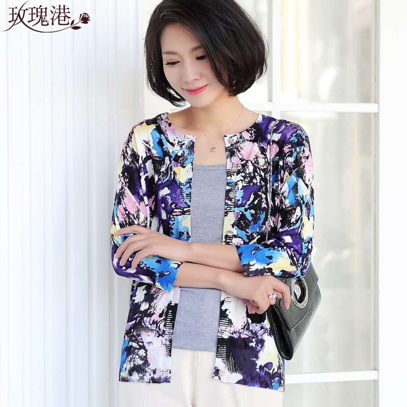 Mother dress middle-aged middle-aged ladies cardigan sweater coat autumn middle-aged women's spring and autumn t-shirt 40-50-year-old