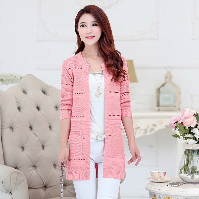 Mother's cable knit shirt female 2016 summer new korean version of slim and long sections openwork knit cardigan female
